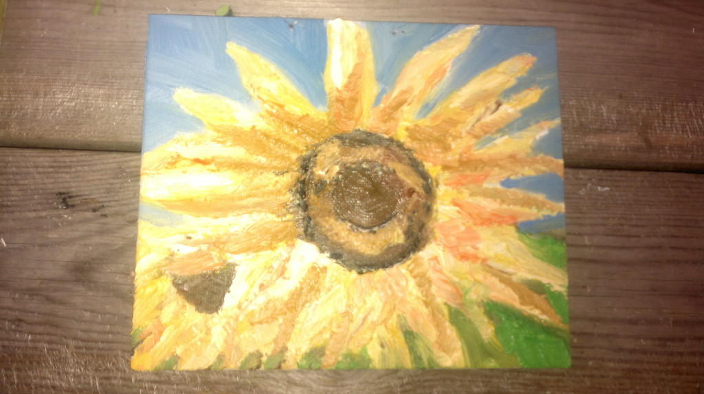 sunflowers, oil on board