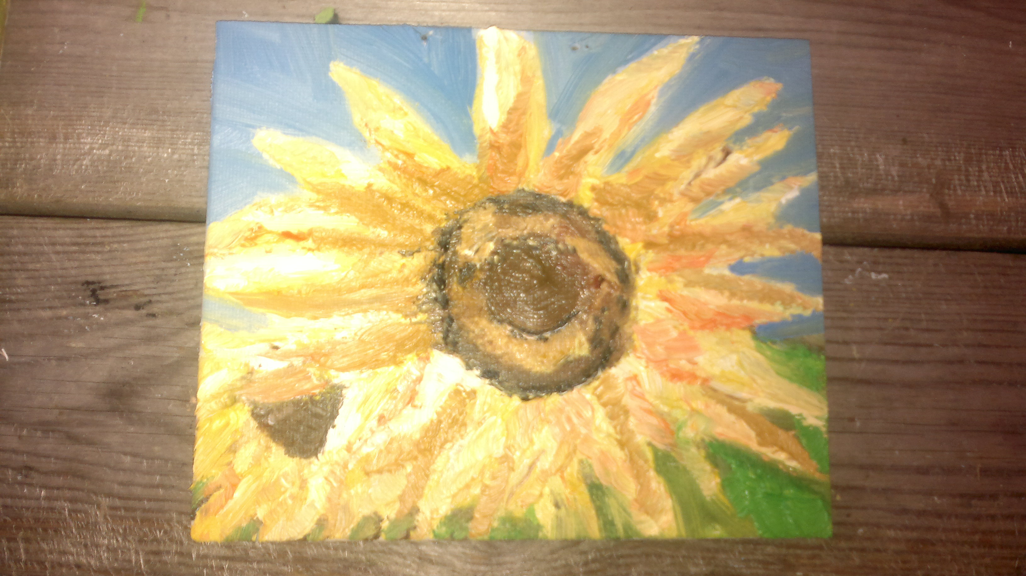 sunflowers, oil on board