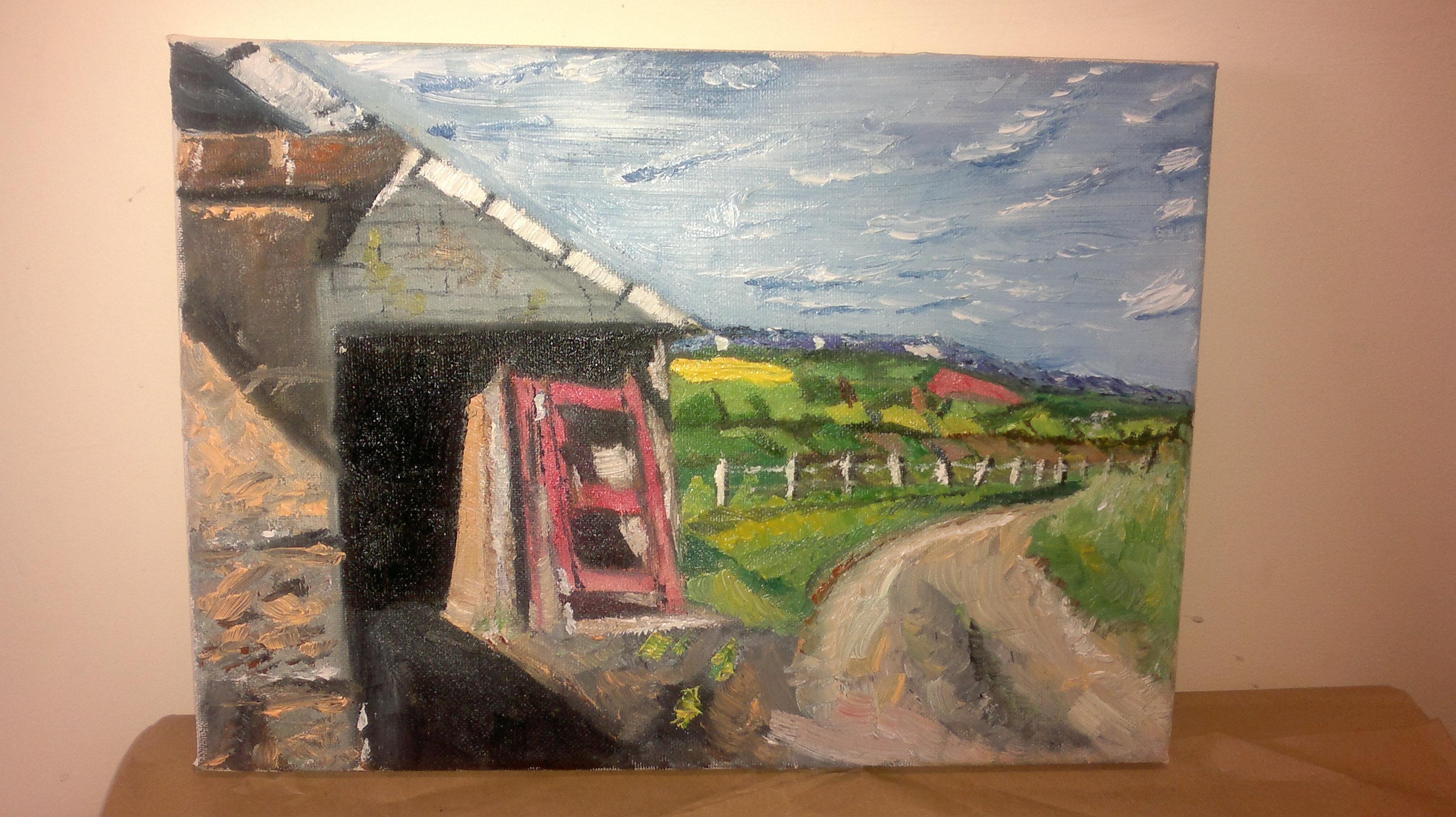 broken door, oil on canvas